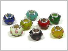 8 Lampwork Modulperlen Grosslochperlen Farbmix mit Rosen