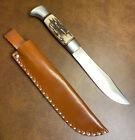 Vintage Stag Handle Knife Sweden P Holmberg Eskilstuna Original Leather Sheath