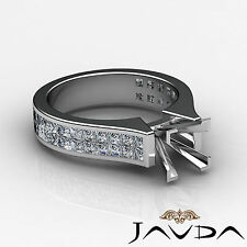 Diamond Engagement Solid Ring Invisible Princess Semi Mount 14k White Gold 2.2Ct