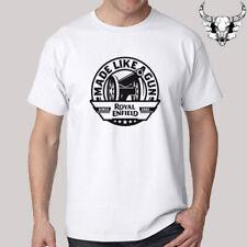 Royal Enfield Made Like A Gun Motorcycle Logo Men's White T-Shirt Size S to 3XL
