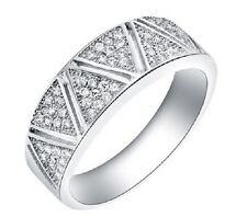 STERLING SILVER, PLATINUM PLATED CZ CRYSTAL BAND RING. SIZE  O