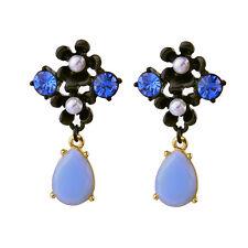 Boucles d`Oreilles Clous Doré Floral Goutte Bleu Noir Retro Ancien Style BB14