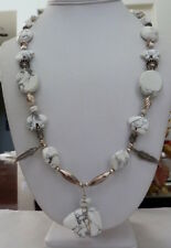 NAVAJO ZUNI WHITE BUFFALO TURQUOISE FETISH STERLING SILVER BENCH BEAD NECKLACE
