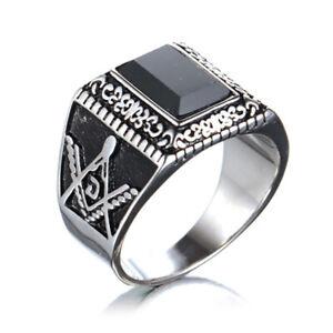 Men's Retro Masonic Jewelry Rings Stainless Steel Freemason Templar Ring Biker
