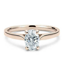 Moissanite 4 Prong Solitaire Engagement Ring 14K Rose Gold 1.35 Carat Oval Cut