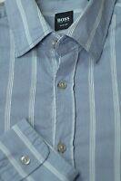 Hugo Boss  Men's Fog Blue Stripe Cotton Casual Shirt M Medium