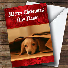 Dachshund Puppy Personalised Christmas Greetings Card