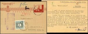 CR194. CROATIA STATE NDH POSTAL CARD FROM LUDBREG TO ZAGREB 1943 POSTAGE DUE