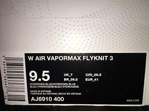 Nike Air VaporMax Flyknit 3 Women's AJ6910-400 Hydrogen Blue Orange Pulse Rare