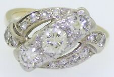 Antique Platinum/14K gold 1.42CT VS diamond cocktail ring w/ .55CT ctr. size 7