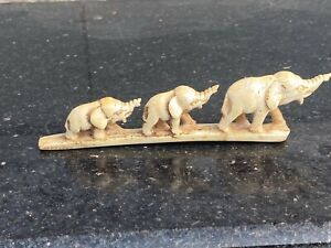17th  Rare Antique IRY Hand Carved Fine 3 Walking Elephant Figurine Panel Rich