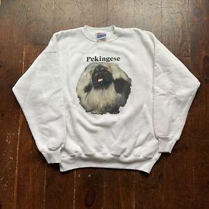 Vintage Pekingese Dog Breed Crewneck Sweatshirt Pullover Size Large White