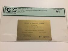 1963 Texas Welcome Dinner Ticket President John F. Kennedy Assassination PCGS 64