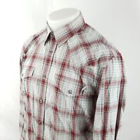 Express Mens Button Front Shirt Sz Medium L/S Plaid Check Western Cowboy A56-03
