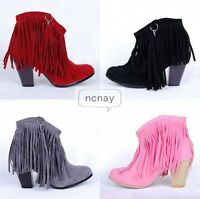 Retro Hot Womens Tassels Cowboy Faux Suede Mid Chunky Heels Ankle Boots Shoes SZ