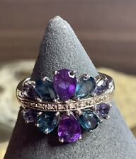 Sterling Silver Amethyst & London Blue Topaz Ring-Size 11