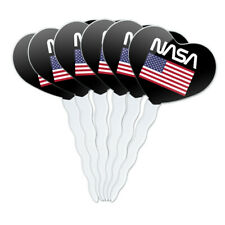 NASA Worm Logo United States Flag Heart Love Cupcake Picks Toppers Set