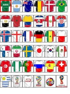 42 FIFA 2018 FOOTBALL T SHIRT cupcake toppers  -Wafer/ Rice Paper