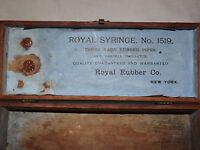 VINTAGE MEDICINE ROYAL SYRINGE RUBBER CO PIPES VAGINAL IRRIGATOR WOOD BOX