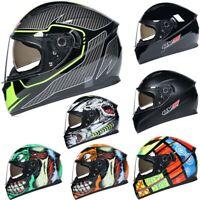 LVS DOT Motorcycle Helmet Full Face Dual Visor Motocross Racing Cruiser Helmet