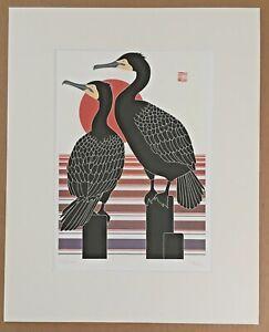 Ikki Matsumoto Signed, Matted Limited Edition Silkscreen Print: Cormorants