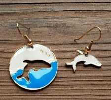 Dolphin Earrings Enamel Ocean Sea Tropical Life Animal Blue White Gold tone