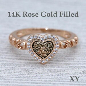 Halo Heart Chocolate CZ Rose Gold Women Fashion Statement Cocktail Ring 1004