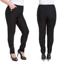 Womens Elegant Straight Legs Trousers Plus Size Pants Pockets 2XL-6XL W18-010
