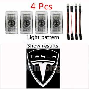 4 Pcs For Tesla 3/S/X/Y Car Door Lights LED Logo Projector Welcome Light Shadow