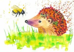 Hedgehog & Bee   A4 Print from my original watercolour painting