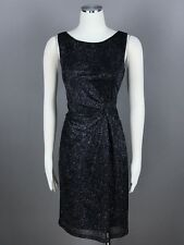Calvin Klein Black Silver Evening Dress Size 8 Glitter Twist Lurex Draped NEW