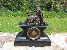 + Ancienne pendule napoléon III - femme antique drapée en bronze +