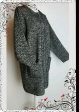 EWM COATIGAN Size 18 20 L Grey black eyelash  knitted jacket coat pockets VGC