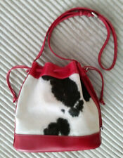 FABULOUS NY RED LEATHER WITH BLACK & WHITE CALF HAIR DRAWSTRING BUCKET BAG