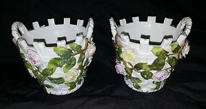 Pair of Late 19th Century Sitzendorf Flower Decorated Cache Pots /Planters