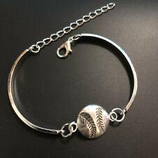 hand made fine silver baseball Cuff Bangle Bracelet Jewelry Hallowmas, Bangle