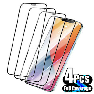 4X FULL Coverage Tempered Glass Screen Protector For iPhone 11 12 Pro MAX XR SE