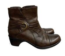 Clarks Side Zip Ankle Boots Booties Size 7.5 Brown Leather