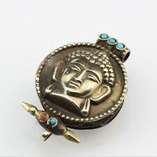 Big Tibetan 5 Turquoise Red Coral Lord Sakyamuni Ghau Prayer Box Amulet Pendant