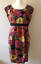 Hobbs Shift Dress, Floral, Red Pink & Mustard, Button Back, Silk, UK 14