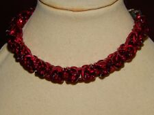 in Red Anodised Aluminium Hand-made Square Chain Maille Bracelet