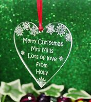 Personalised Teacher's Heart Christmas Tree Decoration Gift Keepsake