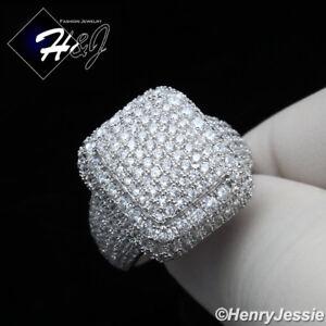 MEN WOMEN 925 STERLING SILVER ICY DIAMOND GOLD/SILVER BLING RING*SR110
