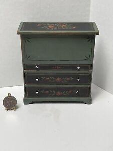 VTG Artisan T BLACKFORD Floral Lift Top Dresser Chest Dollhouse Miniature 1:12