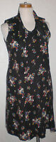 Vintage Post WWII-Early 60s Lane Bryant Kick Pleat Tie Black Flower Dress Cotton
