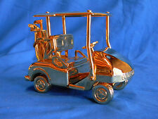 Handmade Replica Golden Golf Cart With Golf Clubs And Bag In Wooden Case