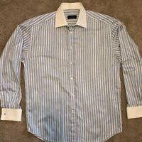 $350 Canali Made in Italy Baby Blue White French Cuff Banker Shirt US 16  EU 41