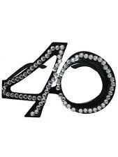 OCCHIALI SAGOMA 40 Neri con strass - Gadget idea regalo festa 40° Compleanno