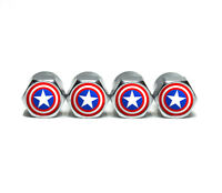 Captain America Tire Valve Stem Caps - Chrome Surface - Set of Four