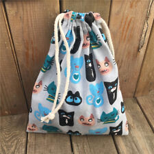 Cotton Linen Drawstring Pouch Party Gift Bag Pink Black Blue Cat 3 Size ChoosinS